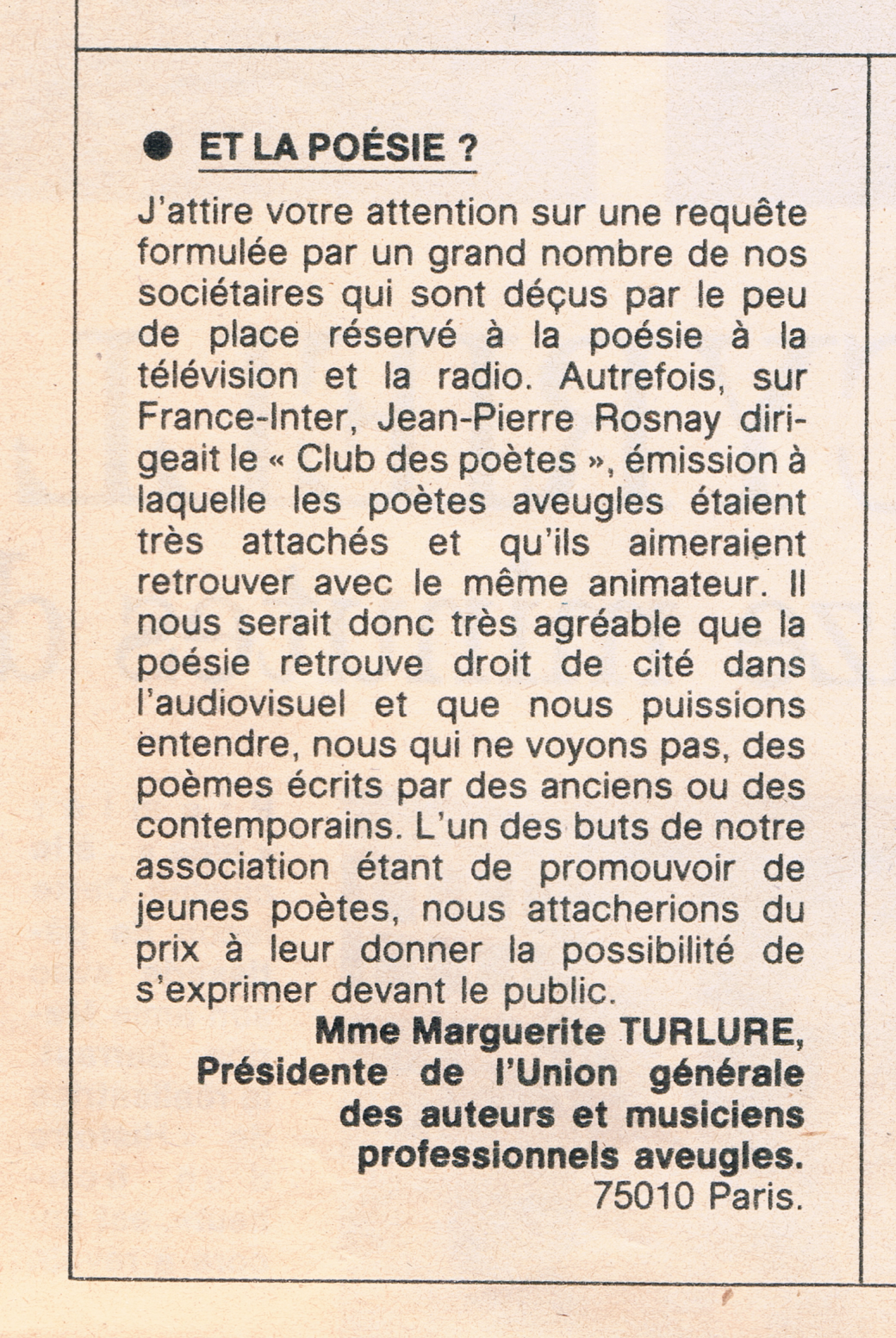 lettres des téléspectateurs(Mme Turlure)
