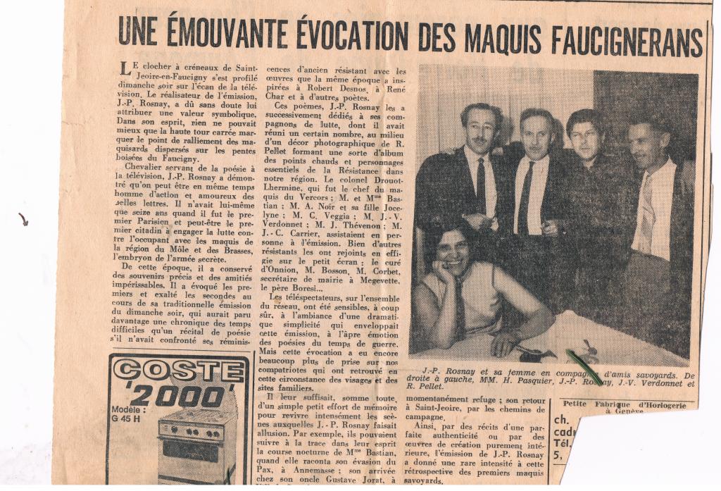 Dauphiné Libéré du mardi 3 mai 1966-maquis faucignerans-